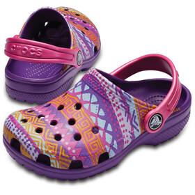 Crocs Classic Graphic Sandały Dzieci fioletowy/kolorowy